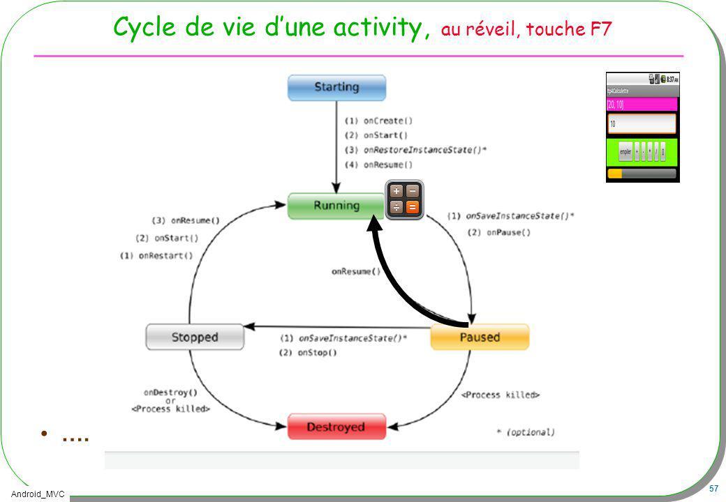 Android_MVC 57 Cycle de vie dune activity, au réveil, touche F7 ….