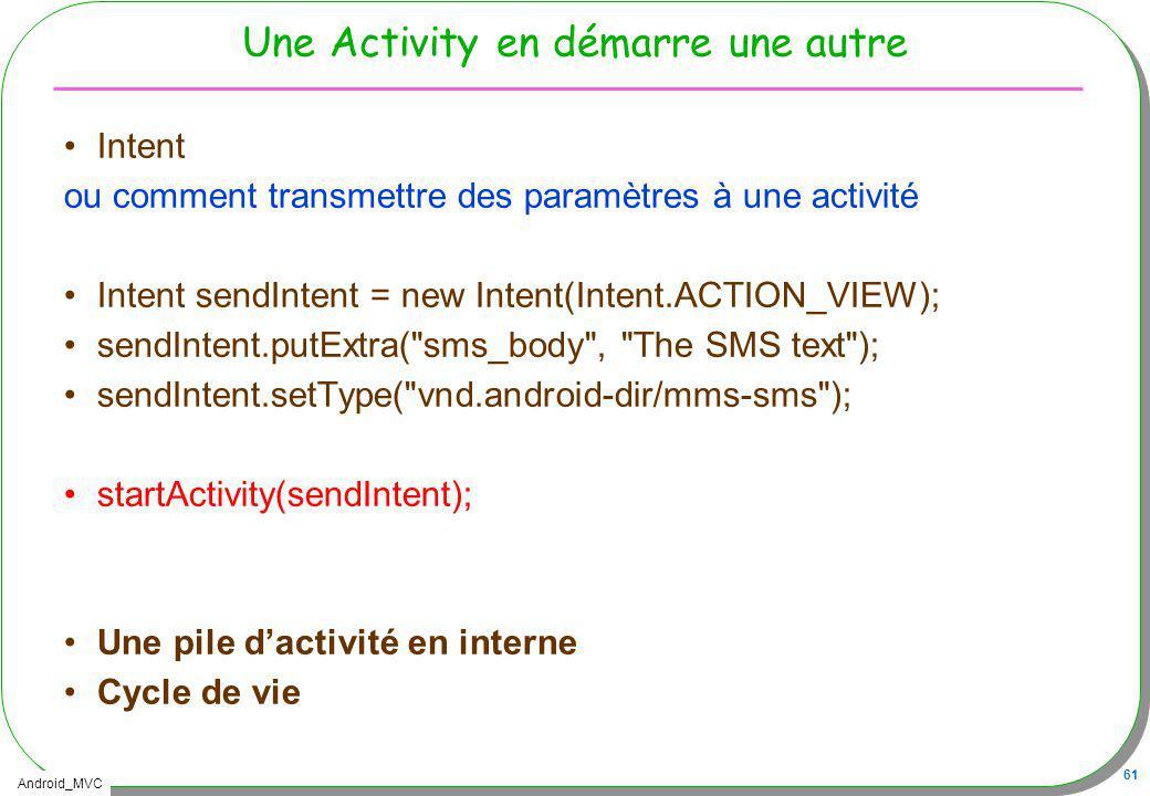 Android_MVC 61 Une Activity en démarre une autre Intent ou comment transmettre des paramètres à une activité Intent sendIntent = new Intent(Intent.ACT