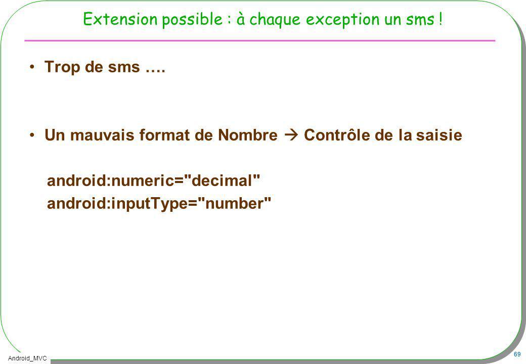 Android_MVC 69 Extension possible : à chaque exception un sms ! Trop de sms …. Un mauvais format de Nombre Contrôle de la saisie android:numeric=