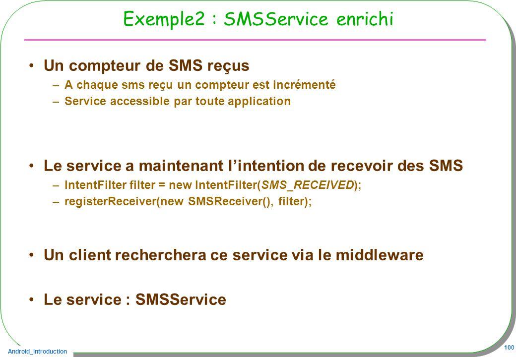 Android_Introduction 100 Exemple2 : SMSService enrichi Un compteur de SMS reçus –A chaque sms reçu un compteur est incrémenté –Service accessible par toute application Le service a maintenant lintention de recevoir des SMS –IntentFilter filter = new IntentFilter(SMS_RECEIVED); –registerReceiver(new SMSReceiver(), filter); Un client recherchera ce service via le middleware Le service : SMSService