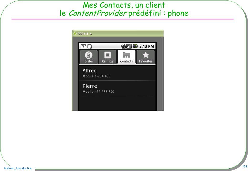 Android_Introduction 102 Mes Contacts, un client le ContentProvider prédéfini : phone