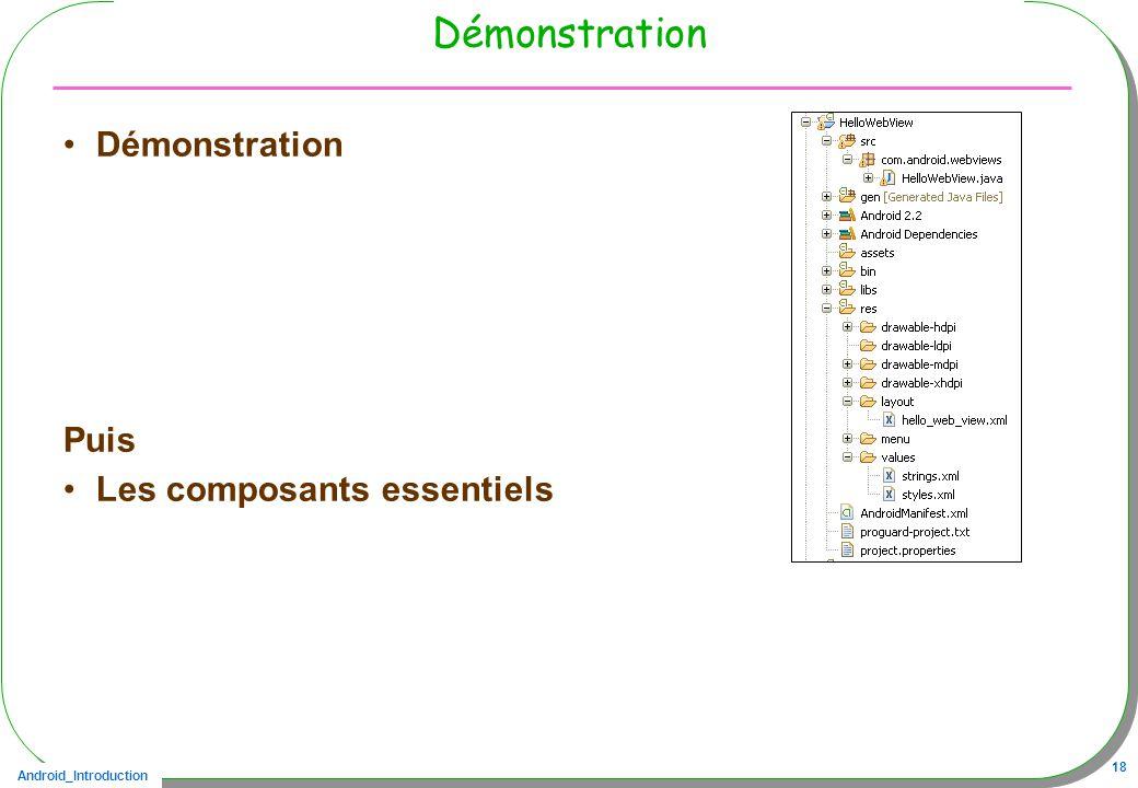 Android_Introduction 18 Démonstration Puis Les composants essentiels