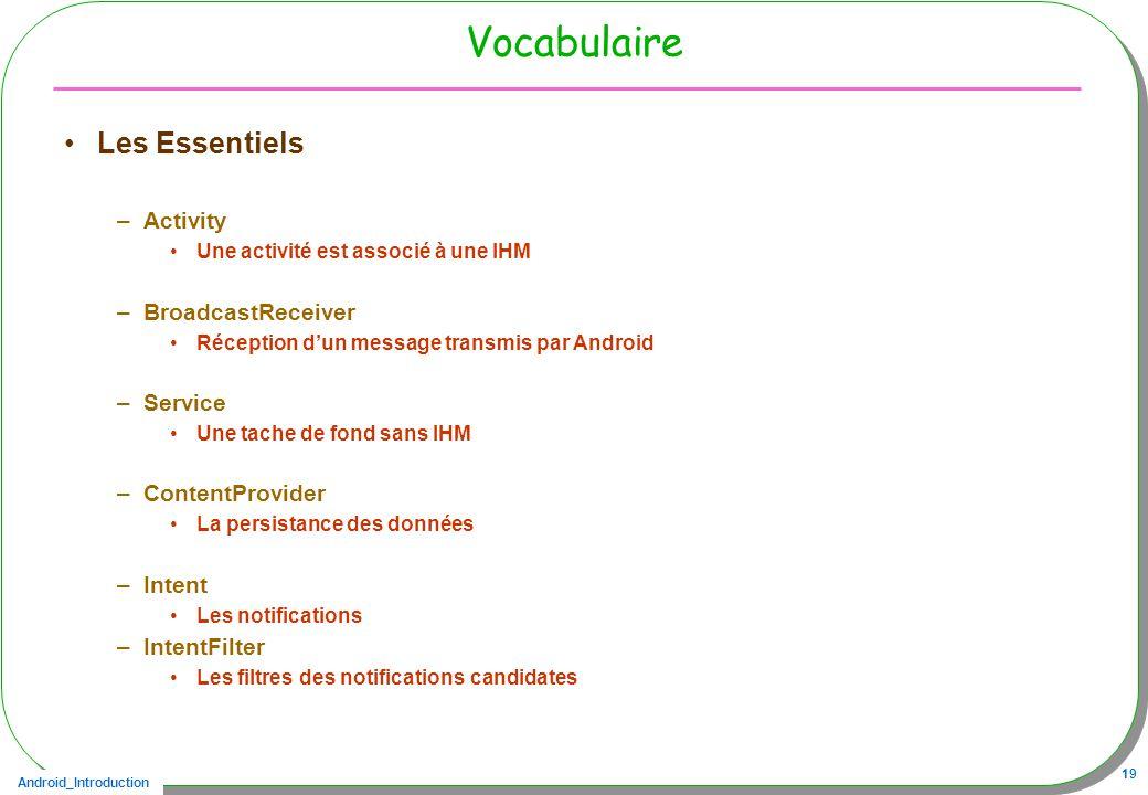 Android_Introduction 19 Vocabulaire Les Essentiels –Activity Une activité est associé à une IHM –BroadcastReceiver Réception dun message transmis par