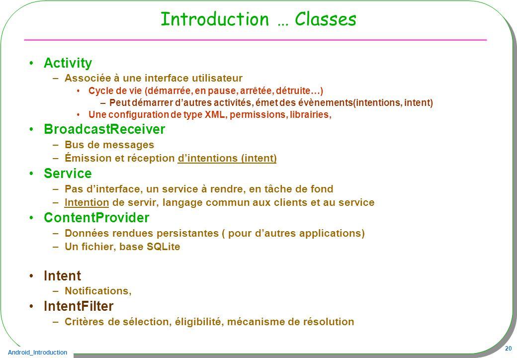 Android_Introduction 20 Introduction … Classes Activity –Associée à une interface utilisateur Cycle de vie (démarrée, en pause, arrêtée, détruite…) –P