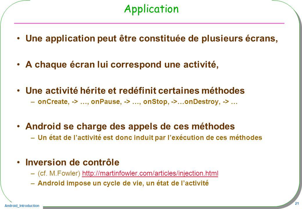Android_Introduction 21 Application Une application peut être constituée de plusieurs écrans, A chaque écran lui correspond une activité, Une activité