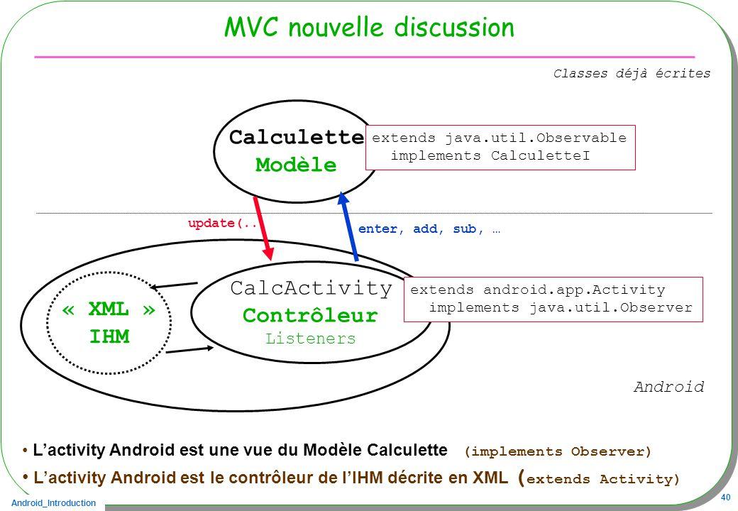 Android_Introduction 40 Calculette Modèle MVC nouvelle discussion « XML » IHM Lactivity Android est une vue du Modèle Calculette (implements Observer) Lactivity Android est le contrôleur de lIHM décrite en XML ( extends Activity) CalcActivity Contrôleur Listeners extends android.app.Activity implements java.util.Observer enter, add, sub, … update(..