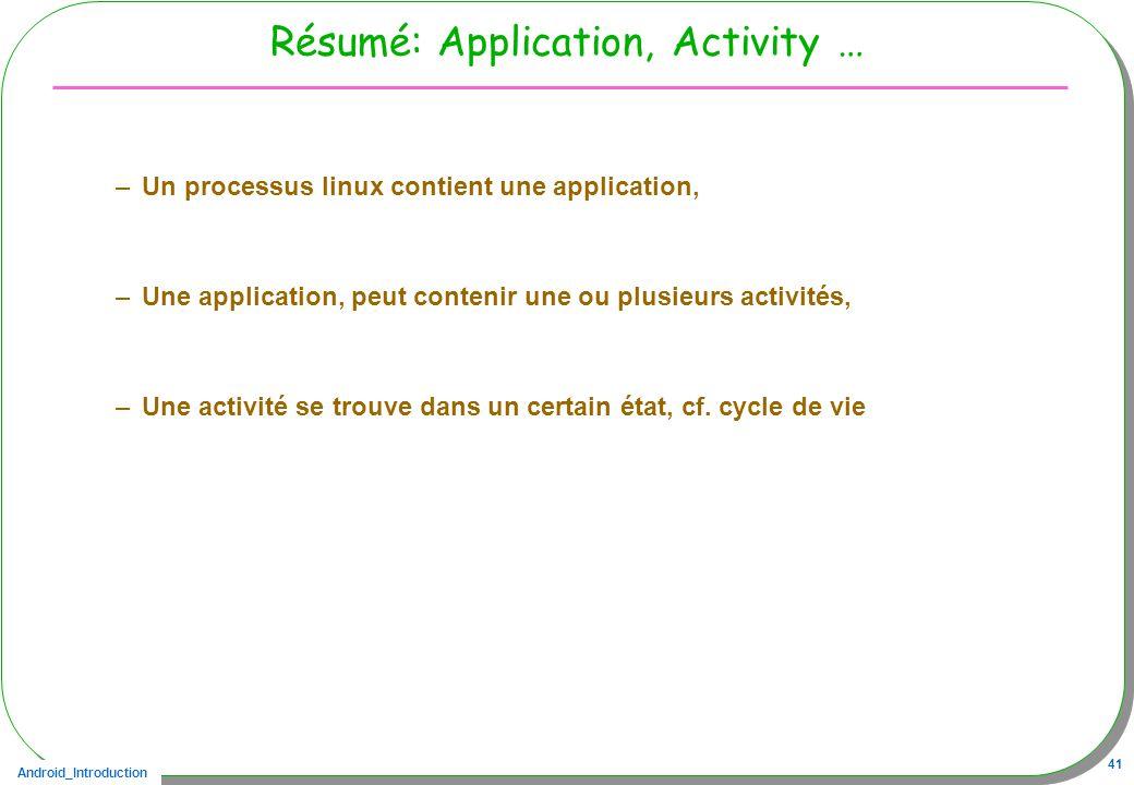 Android_Introduction 41 Résumé: Application, Activity … –Un processus linux contient une application, –Une application, peut contenir une ou plusieurs