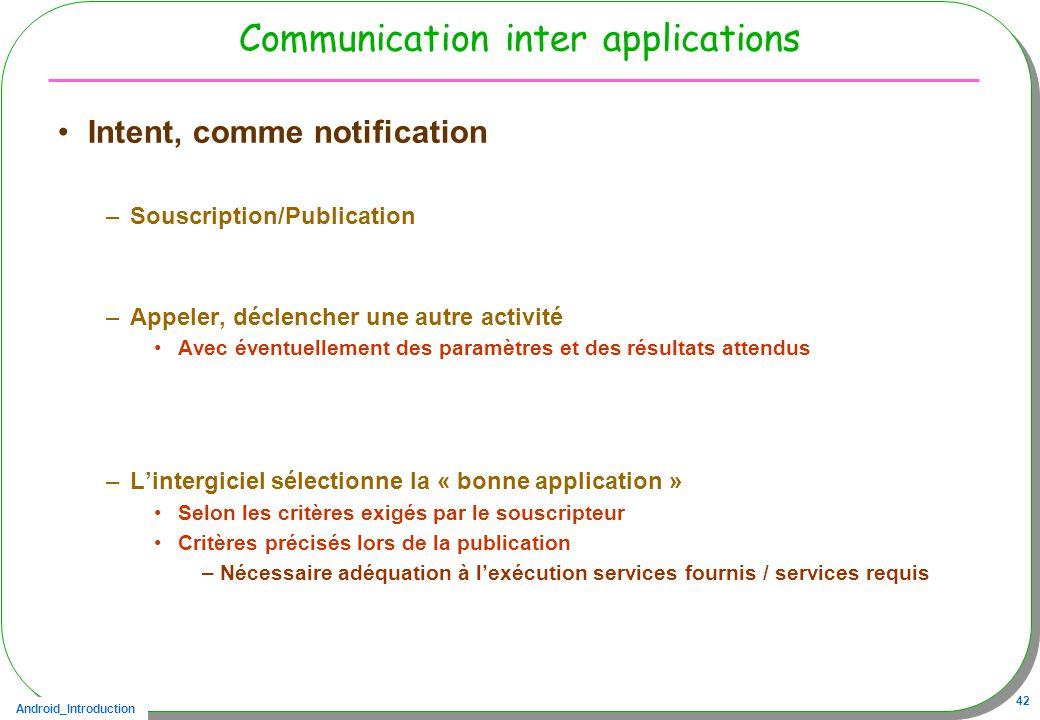 Android_Introduction 42 Communication inter applications Intent, comme notification –Souscription/Publication –Appeler, déclencher une autre activité