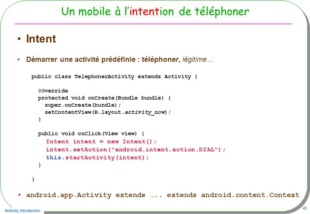 Android_Introduction 45 Un mobile à lintention de téléphoner Intent Démarrer une activité prédéfinie : téléphoner, légitime… public class TelephonerActivity extends Activity { @Override protected void onCreate(Bundle bundle) { super.onCreate(bundle); setContentView(R.layout.activity_now); } public void onClick(View view) { Intent intent = new Intent(); intent.setAction( android.intent.action.DIAL ); this.startActivity(intent); } android.app.Activity extends …..