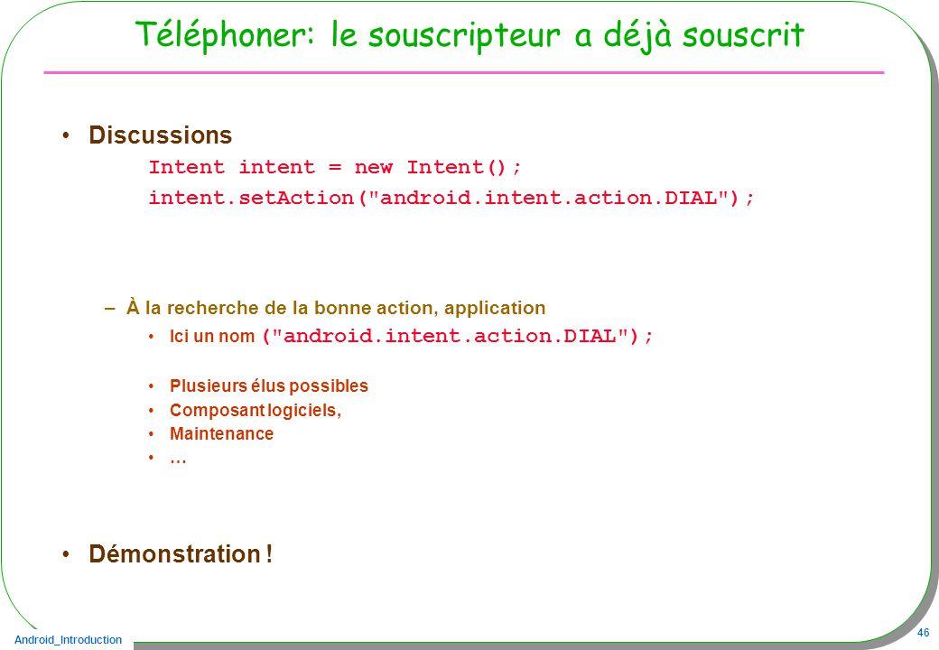 Android_Introduction 46 Téléphoner: le souscripteur a déjà souscrit Discussions Intent intent = new Intent(); intent.setAction(