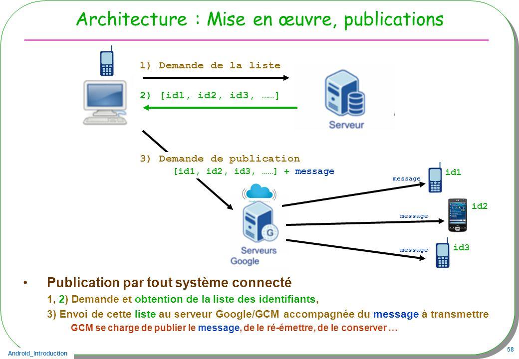 Android_Introduction 58 Architecture : Mise en œuvre, publications Publication par tout système connecté 1, 2) Demande et obtention de la liste des identifiants, 3) Envoi de cette liste au serveur Google/GCM accompagnée du message à transmettre GCM se charge de publier le message, de le ré-émettre, de le conserver … 2) [id1, id2, id3, ……] 1) Demande de la liste 3) Demande de publication [id1, id2, id3, ……] + message id1 message id2 id3