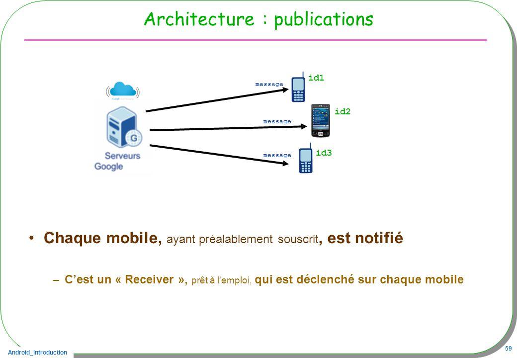 Android_Introduction 59 Architecture : publications Chaque mobile, ayant préalablement souscrit, est notifié –Cest un « Receiver », prêt à lemploi, qui est déclenché sur chaque mobile id1 message id2 id3