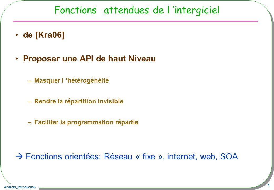 Android_Introduction 6 Fonctions attendues de l intergiciel de [Kra06] Proposer une API de haut Niveau –Masquer l hétérogénéité –Rendre la répartition invisible –Faciliter la programmation répartie Fonctions orientées: Réseau « fixe », internet, web, SOA