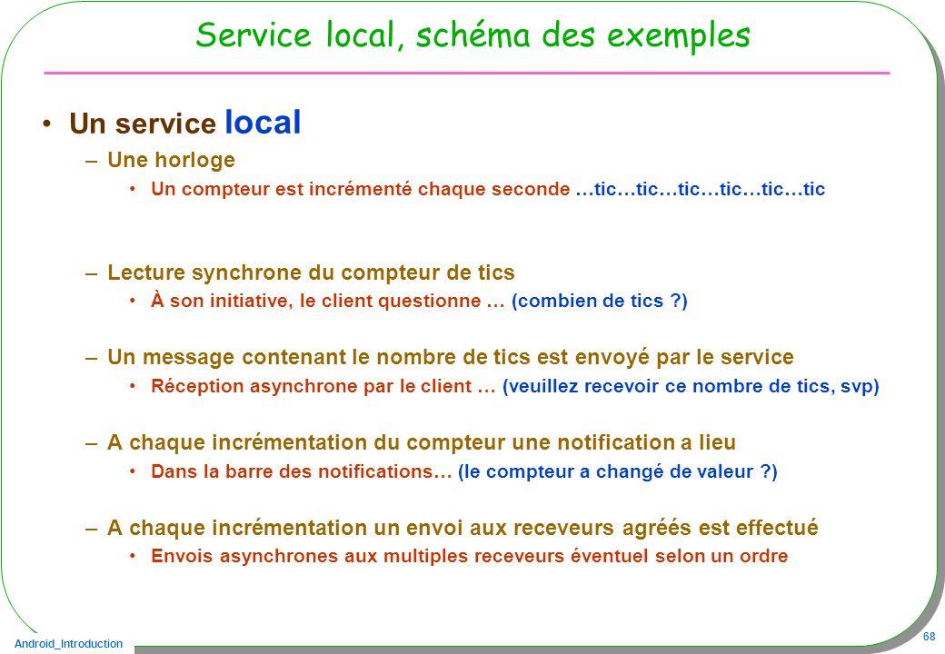 Android_Introduction 68 Service local, schéma des exemples Un service local –Une horloge Un compteur est incrémenté chaque seconde …tic…tic…tic…tic…tic…tic –Lecture synchrone du compteur de tics À son initiative, le client questionne … (combien de tics ?) –Un message contenant le nombre de tics est envoyé par le service Réception asynchrone par le client … (veuillez recevoir ce nombre de tics, svp) –A chaque incrémentation du compteur une notification a lieu Dans la barre des notifications… (le compteur a changé de valeur ?) –A chaque incrémentation un envoi aux receveurs agréés est effectué Envois asynchrones aux multiples receveurs éventuel selon un ordre