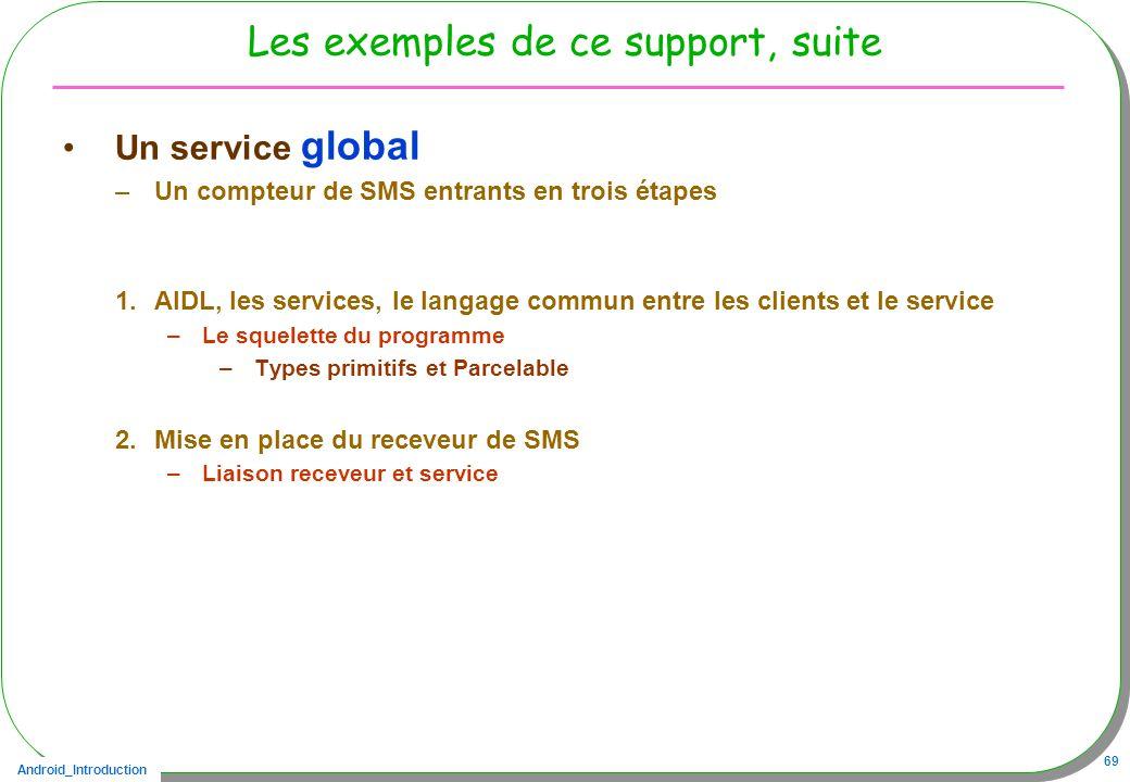 Android_Introduction 69 Les exemples de ce support, suite Un service global –Un compteur de SMS entrants en trois étapes 1.AIDL, les services, le langage commun entre les clients et le service –Le squelette du programme –Types primitifs et Parcelable 2.Mise en place du receveur de SMS –Liaison receveur et service