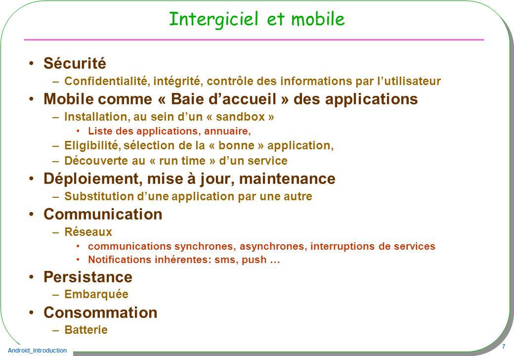 Android_Introduction 7 Intergiciel et mobile Sécurité –Confidentialité, intégrité, contrôle des informations par lutilisateur Mobile comme « Baie dacc