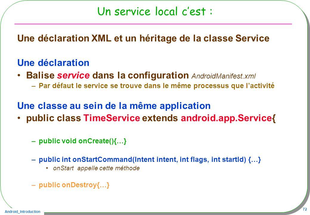 Android_Introduction 72 Un service local cest : Une déclaration XML et un héritage de la classe Service Une déclaration Balise service dans la configu