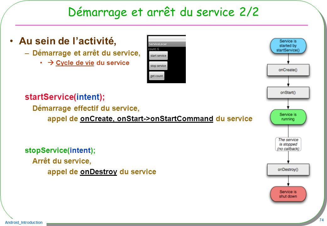 Android_Introduction 74 Démarrage et arrêt du service 2/2 Au sein de lactivité, –Démarrage et arrêt du service, Cycle de vie du service startService(i