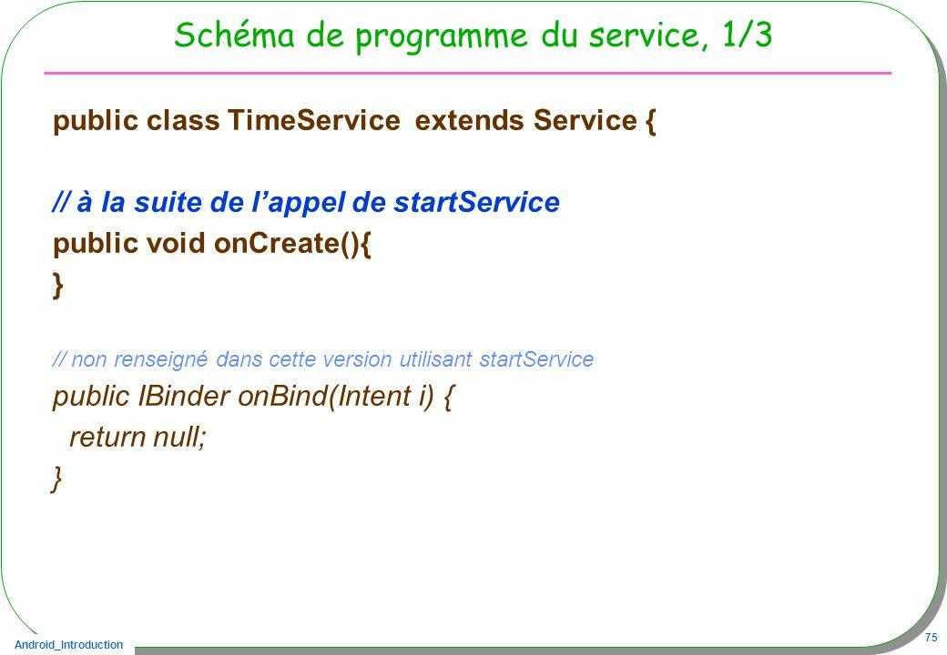 Android_Introduction 75 Schéma de programme du service, 1/3 public class TimeService extends Service { // à la suite de lappel de startService public void onCreate(){ } // non renseigné dans cette version utilisant startService public IBinder onBind(Intent i) { return null; }