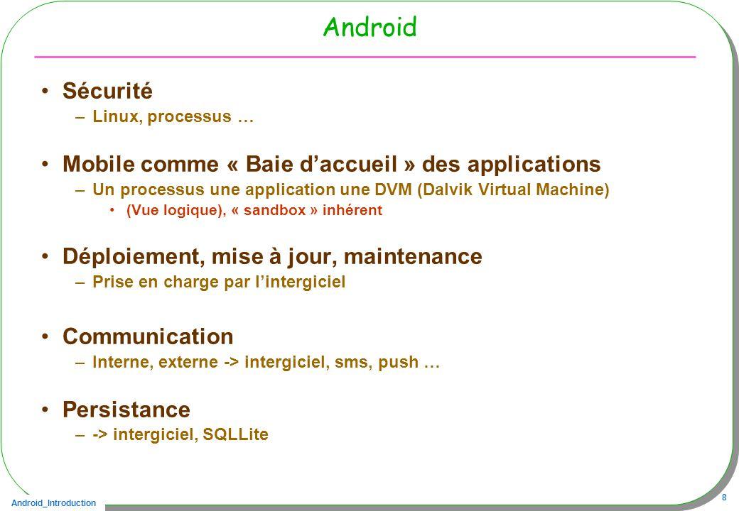 Android_Introduction 8 Android Sécurité –Linux, processus … Mobile comme « Baie daccueil » des applications –Un processus une application une DVM (Dalvik Virtual Machine) (Vue logique), « sandbox » inhérent Déploiement, mise à jour, maintenance –Prise en charge par lintergiciel Communication –Interne, externe -> intergiciel, sms, push … Persistance –-> intergiciel, SQLLite