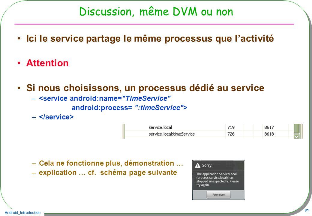 Android_Introduction 81 Discussion, même DVM ou non Ici le service partage le même processus que lactivité Attention Si nous choisissons, un processus dédié au service –<service android:name= TimeService android:process= :timeService > – –Cela ne fonctionne plus, démonstration … –explication … cf.