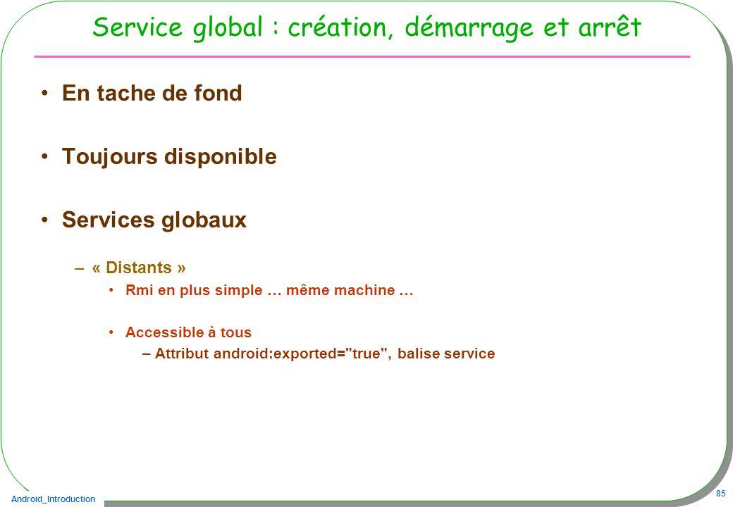 Android_Introduction 85 Service global : création, démarrage et arrêt En tache de fond Toujours disponible Services globaux –« Distants » Rmi en plus simple … même machine … Accessible à tous –Attribut android:exported= true , balise service