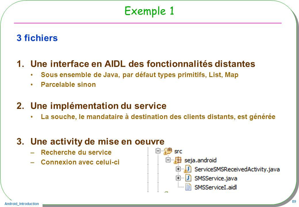 Android_Introduction 89 Exemple 1 3 fichiers 1.Une interface en AIDL des fonctionnalités distantes Sous ensemble de Java, par défaut types primitifs, List, Map Parcelable sinon 2.Une implémentation du service La souche, le mandataire à destination des clients distants, est générée 3.Une activity de mise en oeuvre –Recherche du service –Connexion avec celui-ci