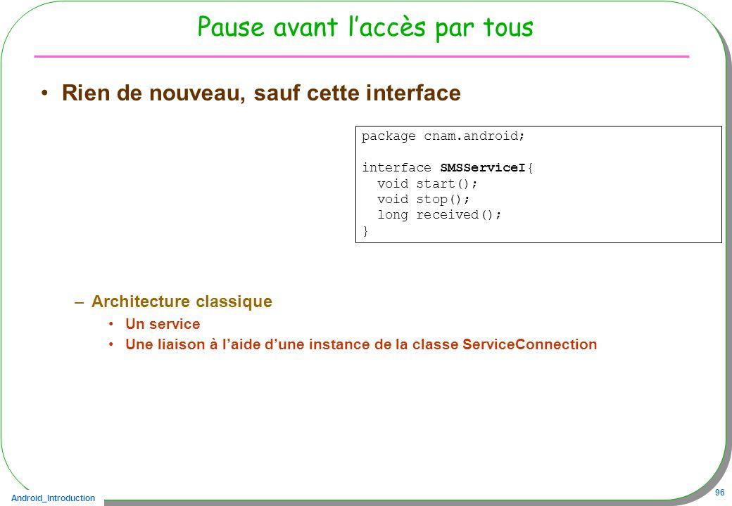Android_Introduction 96 Pause avant laccès par tous Rien de nouveau, sauf cette interface –Architecture classique Un service Une liaison à laide dune