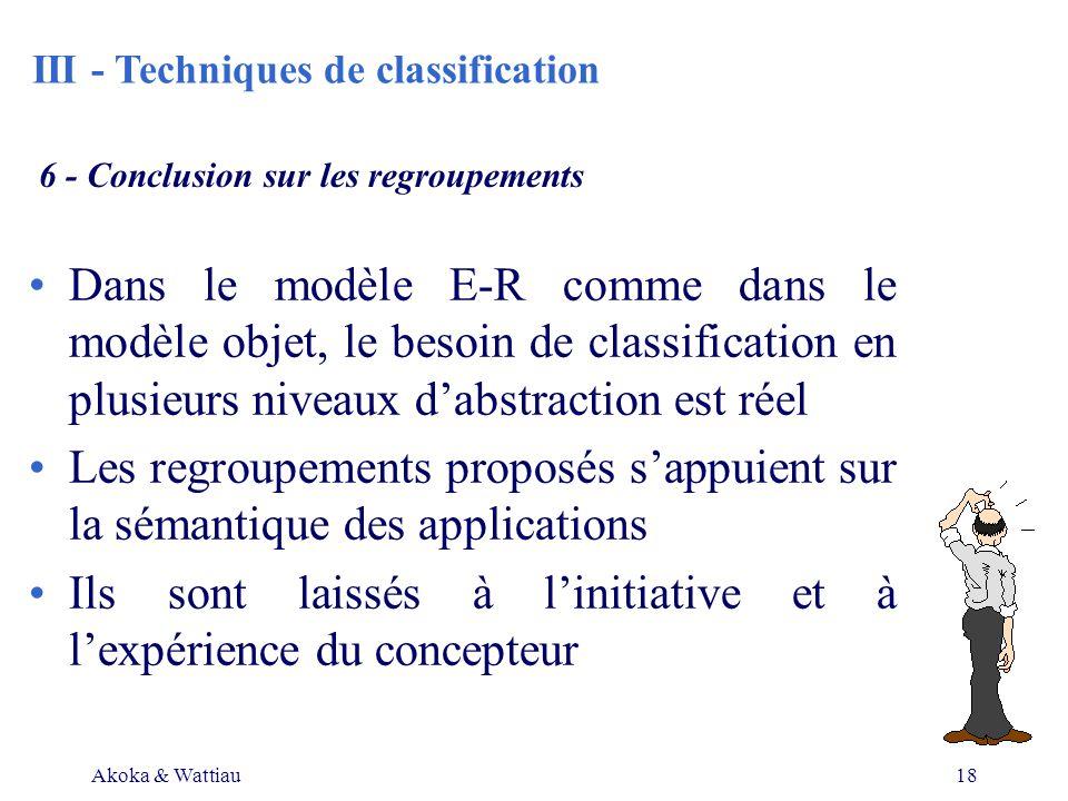 Akoka & Wattiau18 6 - Conclusion sur les regroupements Dans le modèle E-R comme dans le modèle objet, le besoin de classification en plusieurs niveaux dabstraction est réel Les regroupements proposés sappuient sur la sémantique des applications Ils sont laissés à linitiative et à lexpérience du concepteur III - Techniques de classification