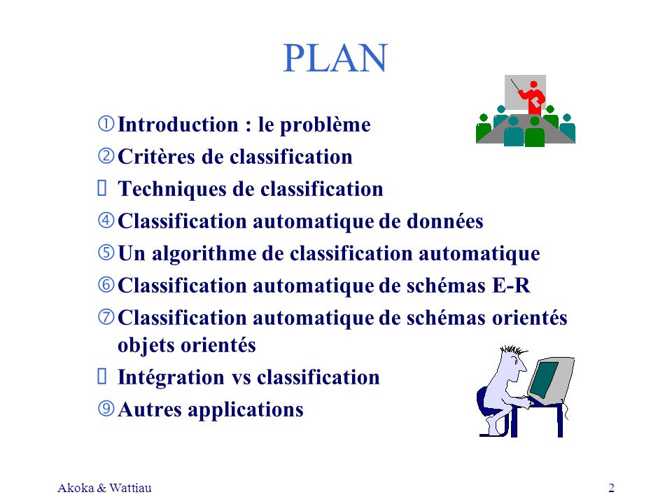 Akoka & Wattiau2 PLAN Introduction : le problème Critères de classification Techniques de classification Classification automatique de données Un algorithme de classification automatique Classification automatique de schémas E-R Classification automatique de schémas orientés objets orientés Intégration vs classification Autres applications