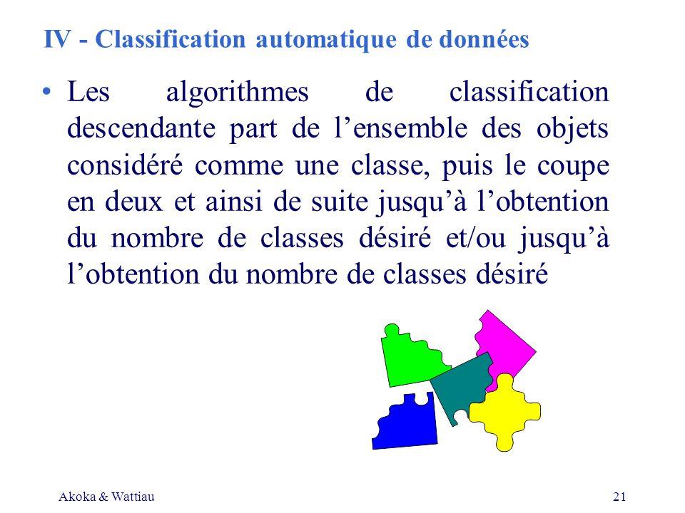 Akoka & Wattiau21 IV - Classification automatique de données Les algorithmes de classification descendante part de lensemble des objets considéré comme une classe, puis le coupe en deux et ainsi de suite jusquà lobtention du nombre de classes désiré et/ou jusquà lobtention du nombre de classes désiré