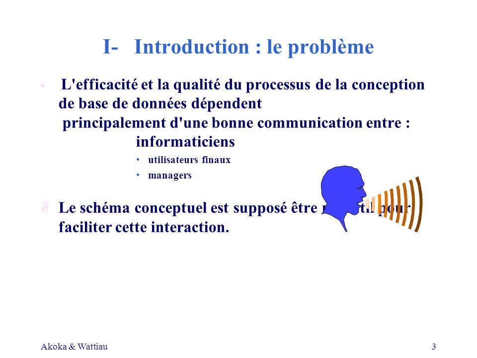 Akoka & Wattiau3 I- Introduction : le problème L efficacité et la qualité du processus de la conception de base de données dépendent principalement d une bonne communication entre : informaticiens utilisateurs finaux managers ALe schéma conceptuel est supposé être un outil pour faciliter cette interaction.