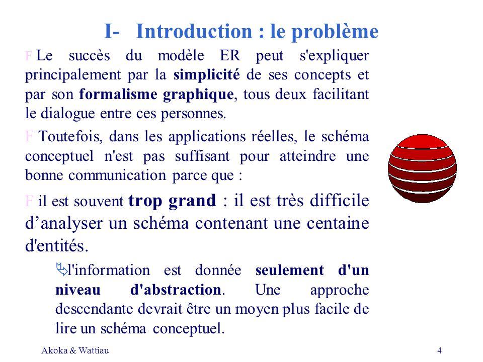 Akoka & Wattiau4 I- Introduction : le problème F Le succès du modèle ER peut s expliquer principalement par la simplicité de ses concepts et par son formalisme graphique, tous deux facilitant le dialogue entre ces personnes.