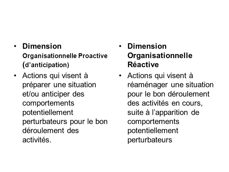 Dimension Organisationnelle Proactive ( danticipation) Actions qui visent à préparer une situation et/ou anticiper des comportements potentiellement perturbateurs pour le bon déroulement des activités.