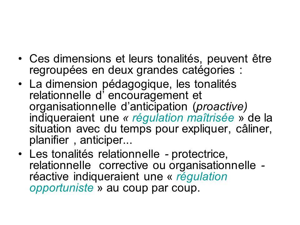 Ces dimensions et leurs tonalités, peuvent être regroupées en deux grandes catégories : La dimension pédagogique, les tonalités relationnelle d encour
