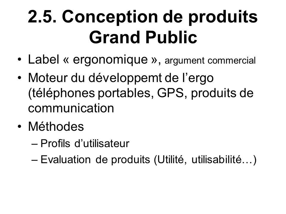 2.5. Conception de produits Grand Public Label « ergonomique », argument commercial Moteur du développemt de lergo (téléphones portables, GPS, produit