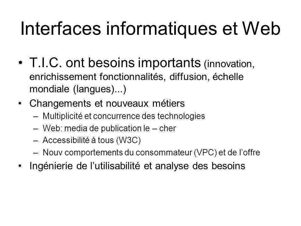 Interfaces informatiques et Web T.I.C. ont besoins importants (innovation, enrichissement fonctionnalités, diffusion, échelle mondiale (langues)...) C