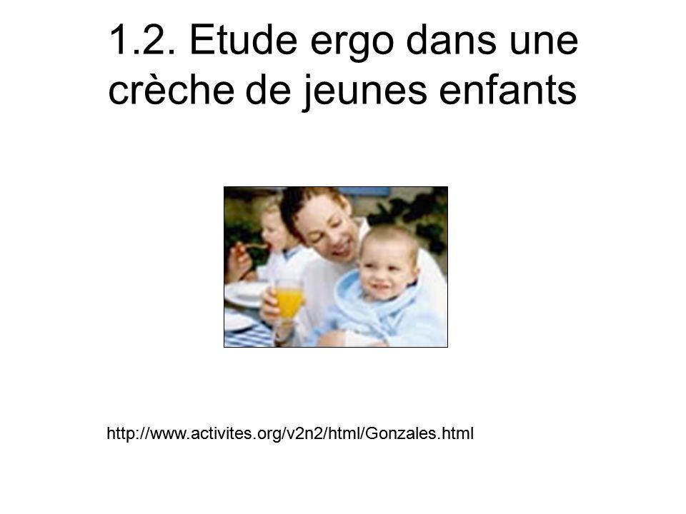 1.2. Etude ergo dans une crèche de jeunes enfants http://www.activites.org/v2n2/html/Gonzales.html