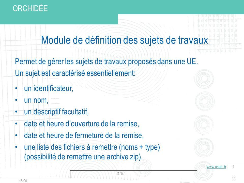 Conservatoire national des arts et métiers STIC 16/09 www.cnam.frwww.cnam.fr11 Votre titre ORCHIDÉE 11 Module de définition des sujets de travaux Permet de gérer les sujets de travaux proposés dans une UE.
