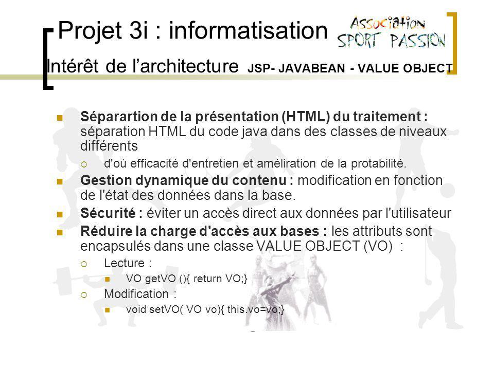 Projet 3i : informatisation Intérêt de larchitecture JSP- JAVABEAN - VALUE OBJECT Séparartion de la présentation (HTML) du traitement : séparation HTML du code java dans des classes de niveaux différents d où efficacité d entretien et améliration de la protabilité.