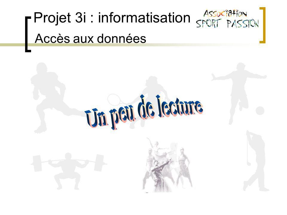 Projet 3i : informatisation Accès aux données