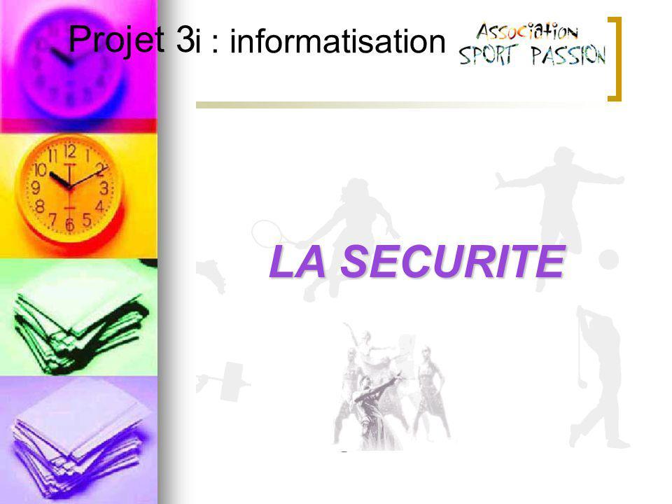 Projet 3i : informatisation Projet 3LA SECURITE