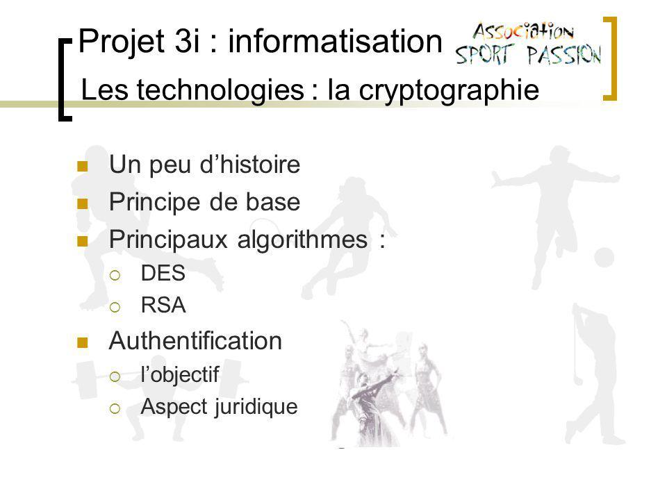 Projet 3i : informatisation Les technologies : la cryptographie Un peu dhistoire Principe de base Principaux algorithmes : DES RSA Authentification lobjectif Aspect juridique