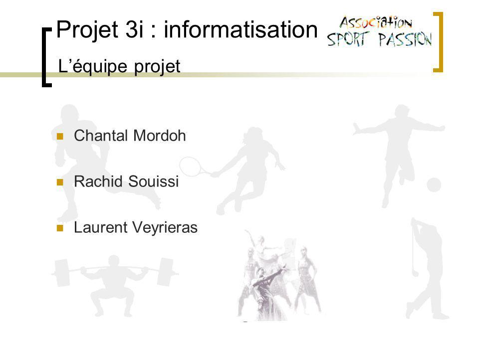 Projet 3i : informatisation Léquipe projet Chantal Mordoh Rachid Souissi Laurent Veyrieras
