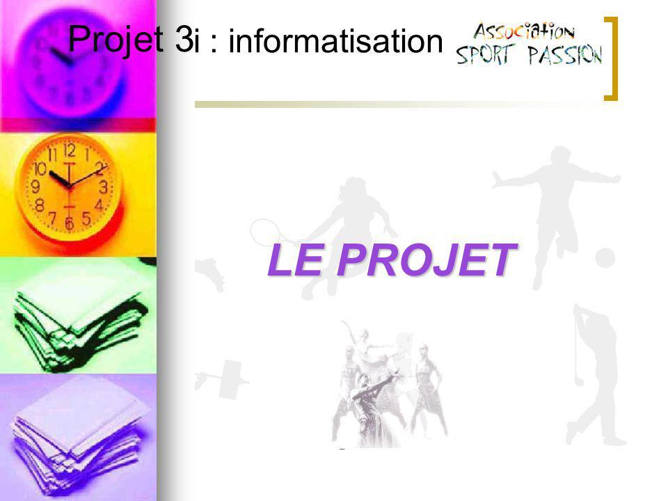 Projet 3i : informatisation Projet 3LE PROJET
