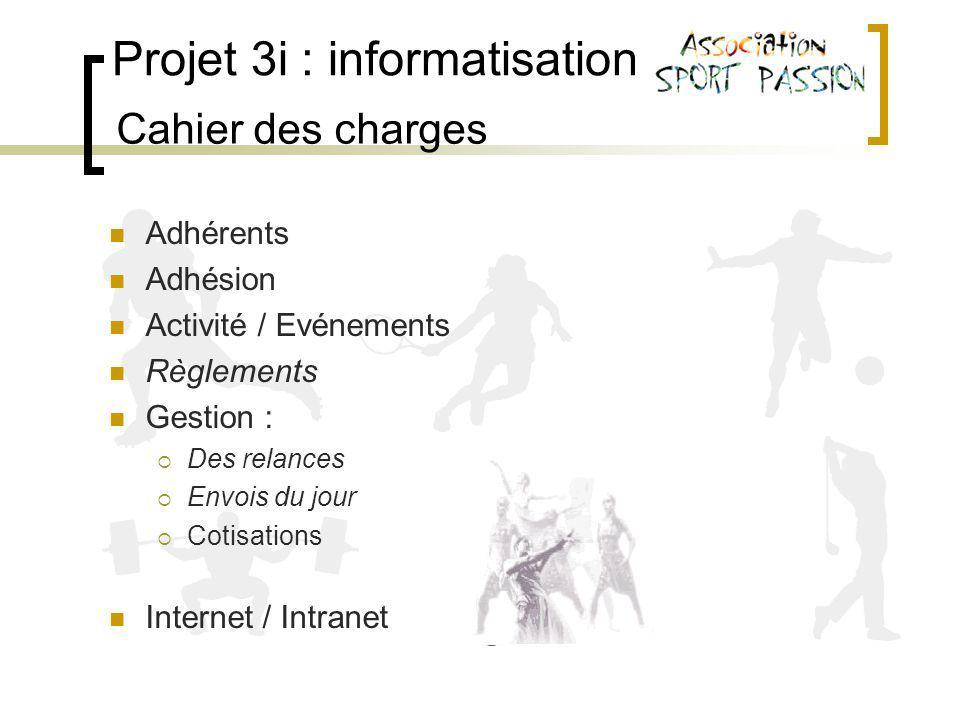 Projet 3i : informatisation Cahier des charges Adhérents Adhésion Activité / Evénements Règlements Gestion : Des relances Envois du jour Cotisations Internet / Intranet