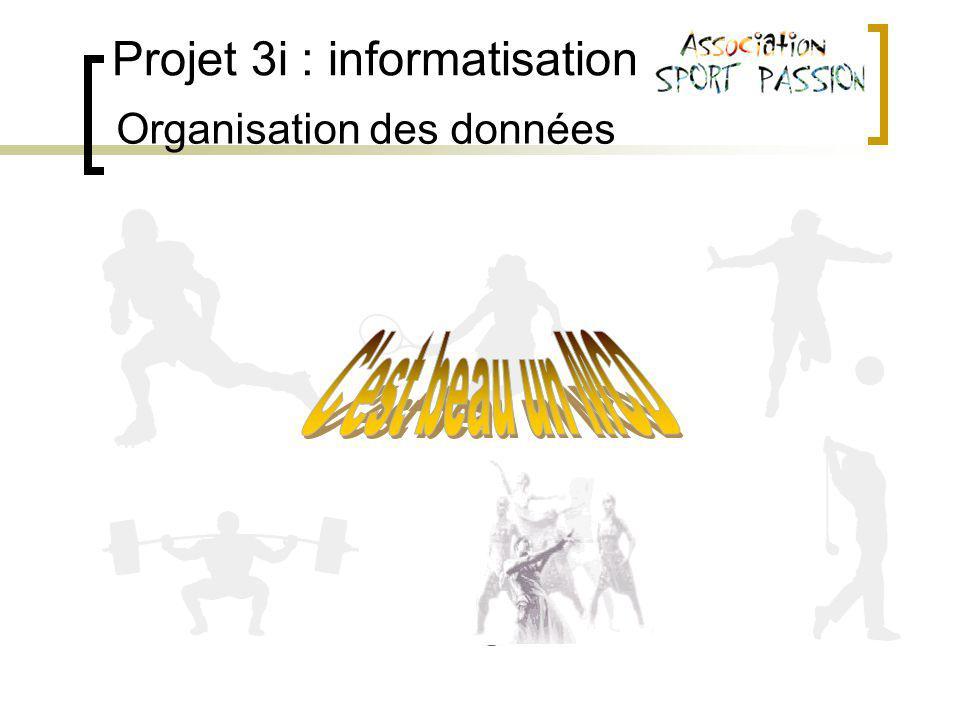 Projet 3i : informatisation Organisation des données