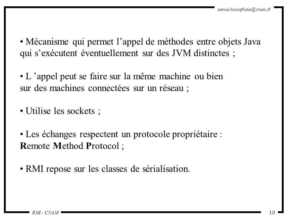 RMI - CNAM samia.bouzefrane@cnam.fr 10 Mécanisme qui permet lappel de méthodes entre objets Java qui sexécutent éventuellement sur des JVM distinctes