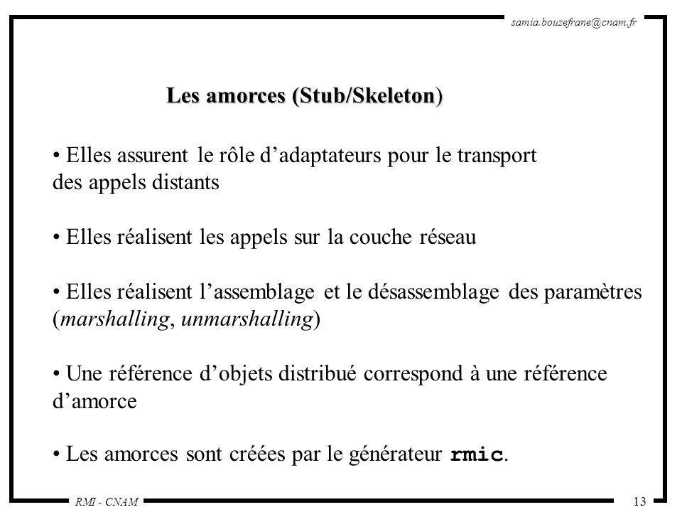 RMI - CNAM samia.bouzefrane@cnam.fr 13 Les amorces (Stub/Skeleton) Elles assurent le rôle dadaptateurs pour le transport des appels distants Elles réa