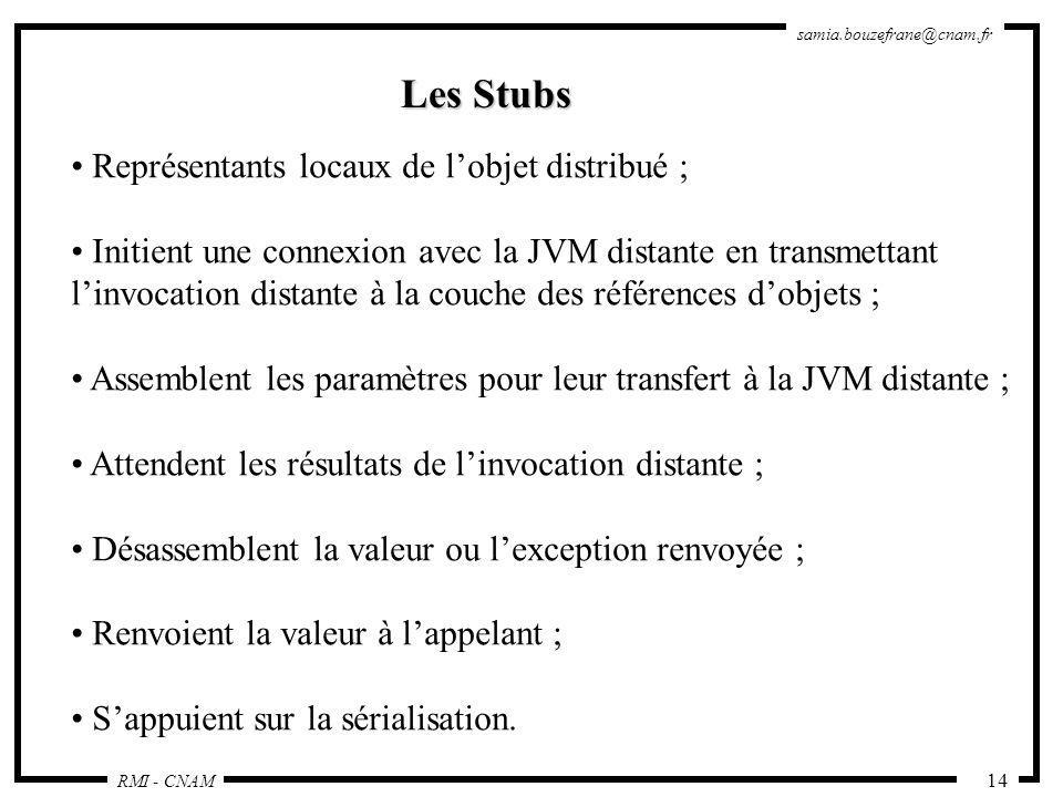 RMI - CNAM samia.bouzefrane@cnam.fr 14 Les Stubs Représentants locaux de lobjet distribué ; Initient une connexion avec la JVM distante en transmettan